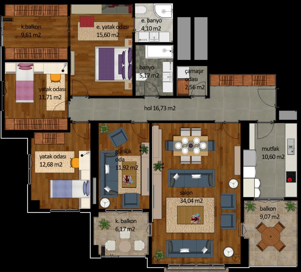 شقة 1+4